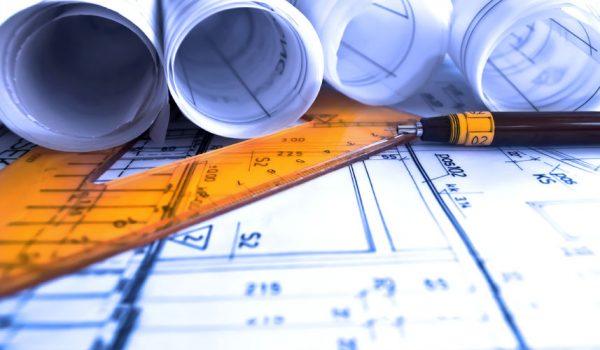 44223577 - architecture rolls architectural plans project architect blueprints real estate concept